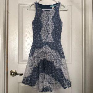 Lace high neck patterned Francesca's dress